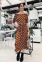 Модное летнее платье миди с открытой спиной коричневое в белый горох