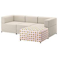 Диван IKEA KUNGSHAMN модульный 3-местный Idekulla бежевый Yttered разноцветный 592.513.84