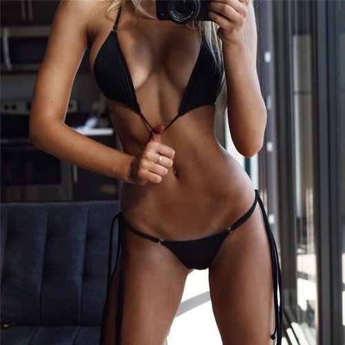 Купальник раздельный бикини мягкая чашка с вкладышем стринги чёрный- 130-823