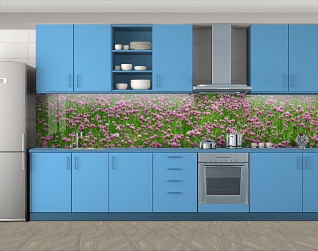 Кухонный фартук Клевер, Фотопечать кухонного фартука на самоклейке, Цветы, зеленый, 600*3000 мм
