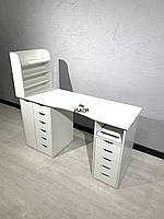 Стол маникюрный профессиональный с двумя тумбами и ящиком карго V368