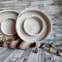 Плетёный поднос пасхальный
