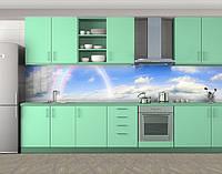 Кухонный фартук Радуга в небесах, Стеновая панель с фотопечатью, Природа, голубой