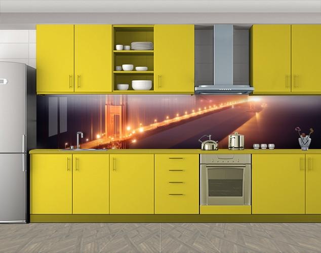 Кухонный фартук Мост в огнях, Кухонный фартук на самоклеящееся пленке с фотопечатью, Мосты, коричневый