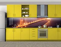 Кухонный фартук Мост в огнях, Кухонный фартук на самоклеящееся пленке с фотопечатью, Мосты, коричневый, фото 1