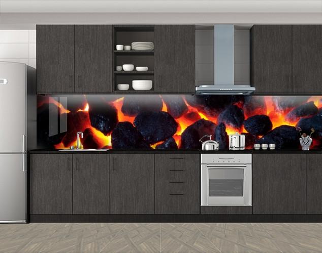 Кухонный фартук Угли и огонь, Кухонный фартук с фотопечатью, Разное, черный