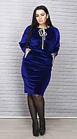 Женское красивое стильное велюровое платье. Большие размеры. Модные цвета