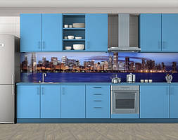 Кухонный фартук Река и город, Кухонный фартук на самоклеящееся пленке с фотопечатью, Город ночью, синий