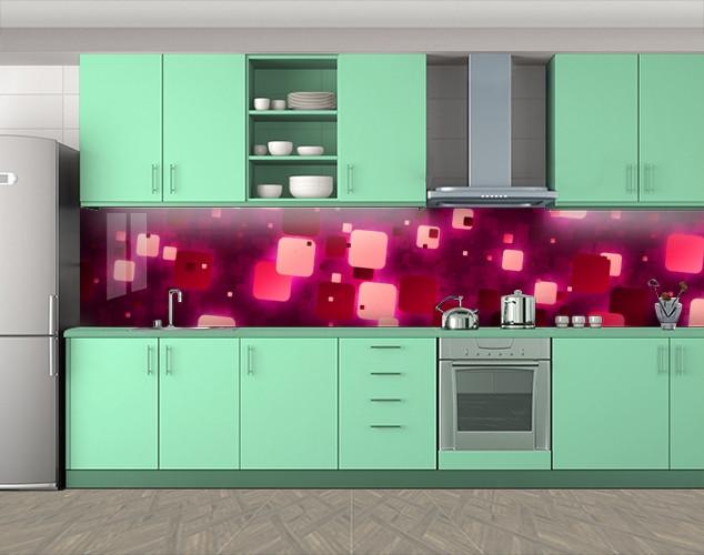 Кухонный фартук Квадратные блики, Защитная пленка на кухонный фартук с фотопечатью, Абстракции, красный, 600*3000 мм