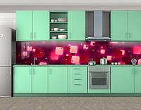 Кухонный фартук Квадратные блики, Защитная пленка на кухонный фартук с фотопечатью, Абстракции, красный, 600*3000 мм, фото 1
