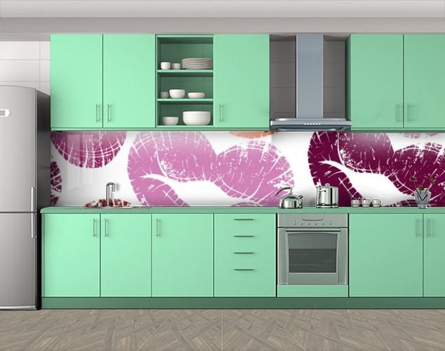 Кухонный фартук Отпечаток губ, Фотопечать скинали на кухню, Текстуры, фоны, белый