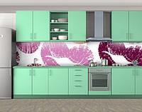 Кухонный фартук Отпечаток губ, Фотопечать скинали на кухню, Текстуры, фоны, белый, фото 1