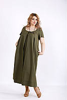 / Размер 42-74 / Женское длинное платье из льна 01136 / цвет хаки