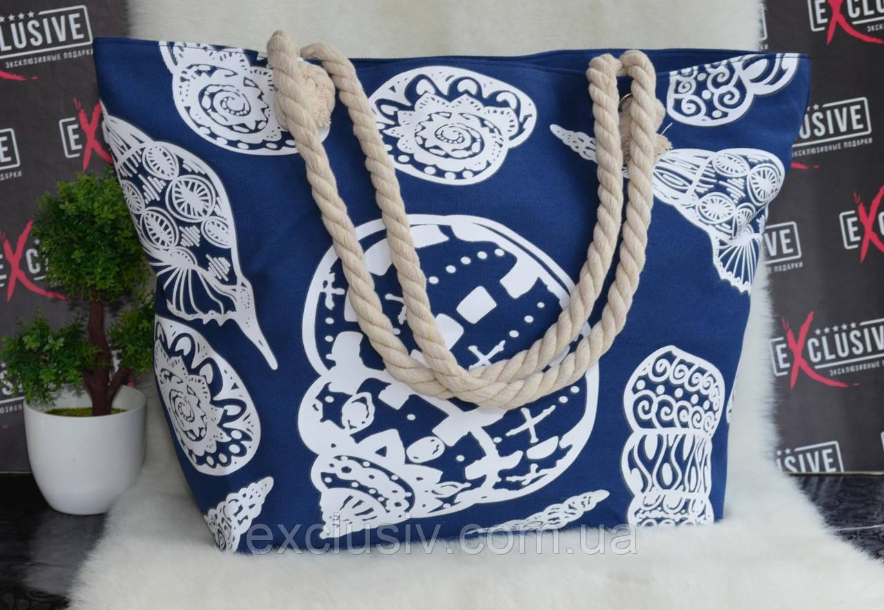 97919bb7e7cd Большая Пляжная Сумка с Канатными Ручками Синяя Ракушки — в ...