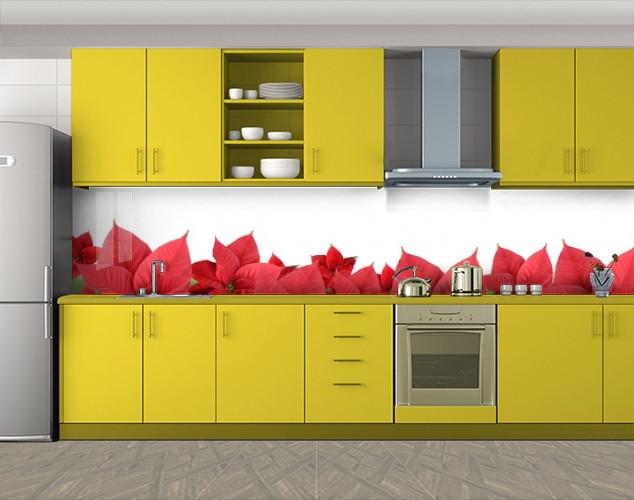 Кухонный фартук Красные листья рождественника, Защитная пленка на кухонный фартук с фотопечатью, Цветы, белый