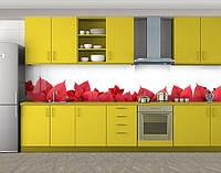 Кухонный фартук Красные листья рождественника, Защитная пленка на кухонный фартук с фотопечатью, Цветы, белый, фото 1