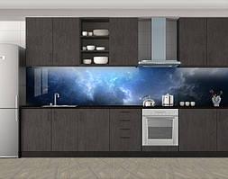 Кухонный фартук Космическая синева, Фотопечать кухонного фартука на самоклейке, Космос, синий, 600*3000 мм