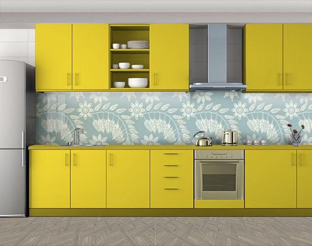 Кухонный фартук Листочки узоры, Стеновая панель с фотопечатью, Текстуры, фоны, голубой