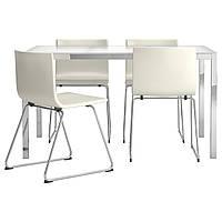 TORSBY / BERNHARD Стол и 4 стула, стекло белый, Кават белый 798.930.16