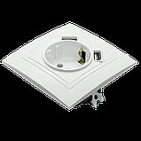 Розетка с заземлением и двумя USB портами MARSHEL Элегант, фото 6