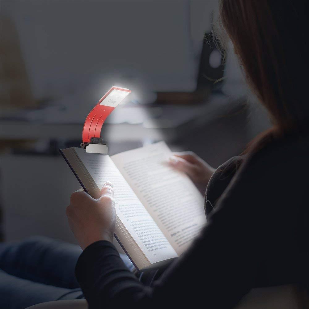 USB LED лампа для чтения Oliomp  аккумуляторная красная.