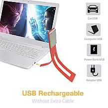 USB LED лампа для чтения Oliomp  аккумуляторная красная., фото 3