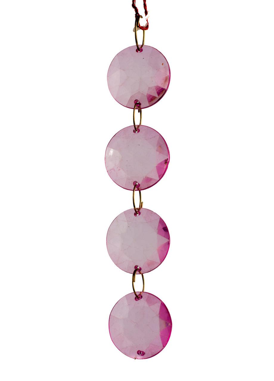 """Подвеска пластмассовая """"4 кристаллы"""" Coincasa 12,5см Розовый"""