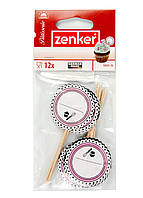 Топпер для капкейков (12шт) Zenker h=10см Белый, Розовый