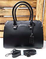 Женская каркасная сумка из натуральной кожи на один отдел с короткими ручками и плечевым ремнем