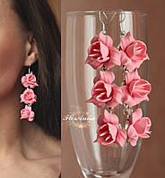 """Длинные серьги с цветами """"Коралловые фрезии"""", фото 1"""