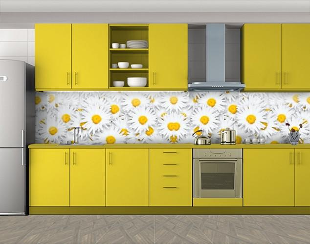 Кухонный фартук Фон ромашки, Пленка для кухонного фартука с фотопечатью, Цветы, белый