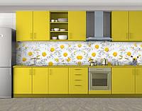 Кухонный фартук Фон ромашки, Пленка для кухонного фартука с фотопечатью, Цветы, белый, фото 1