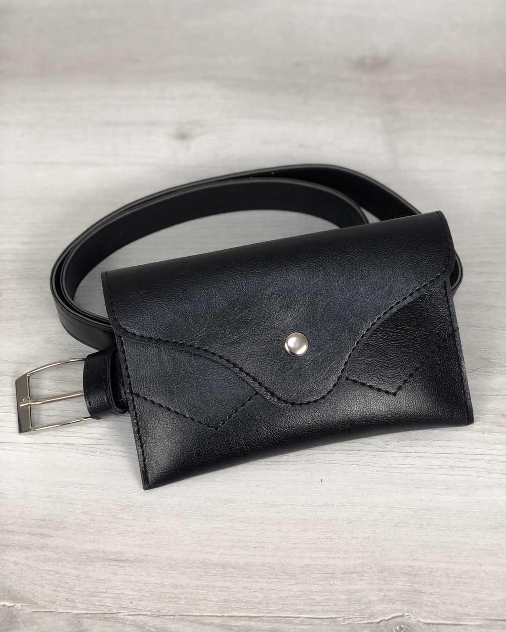 4414962b4 Черная сумочка-клатч на пояс 99154 маленькая на кнопке - Интернет магазин  сумок SUMKOFF -