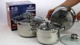 Кухонний набір посуду з матовою поліруванням для будинку Bohmann BH-06-375 нержавіюча сталь