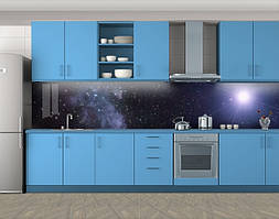 Кухонный фартук Звезда и галактика, Кухонный фартук на самоклеящееся пленке с фотопечатью, Космос, фиолетовый