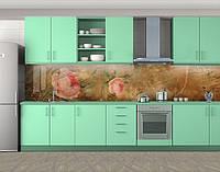 Кухонный фартук Винтажные полные розы, Кухонный фартук с фотопечатью, Цветы, зеленый