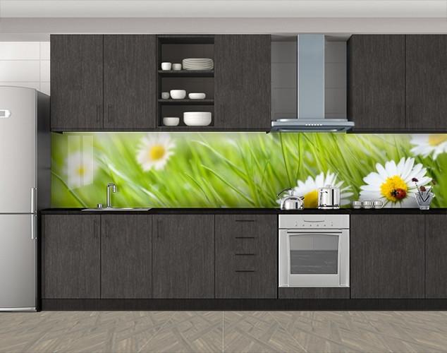 Кухонный фартук Ромашки фото, Самоклеящаяся скинали с фотопечатью, Цветы, зеленый
