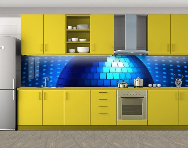 Кухонный фартук Диско-Шар, Стеновая панель для кухни с фотопечатью, Разное, синий