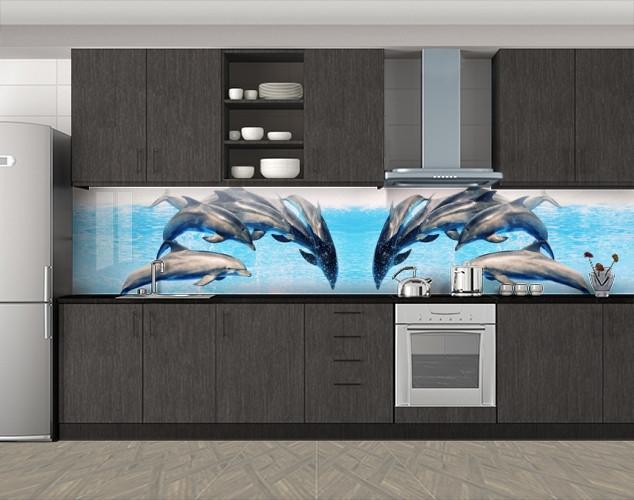 Кухонный фартук Стая дельфинов, Наклейка на кухонный фартук, Животный мир, рыбы, голубой