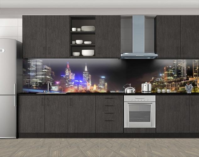 Кухонный фартук Ночные города, Кухонный фартук с фотопечатью, Город ночью, черный