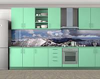 Кухонный фартук Заснеженные горные вершины, Защитная пленка на кухонный фартук с фотопечатью, Природа, синий