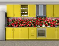 Кухонный фартук Тюльпаны на клумбе, Пленка для кухонного фартука с фотопечатью, Цветы, красный