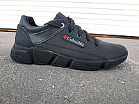 Мужские стильные кожаные черные кроссовки 40 -45 р-р, фото 1