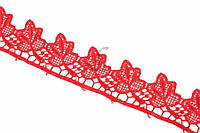 """Синтетическое кружево """"Milium"""" для декративной отделки, красное, длина 13.7м, Кружевная тесьма, Кружевная лента"""