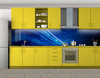 Кухонный фартук Линии и круги, Самоклеящаяся стеновая панель для кухни, Абстракции, синий
