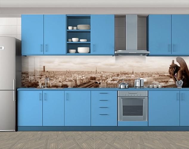 Кухонный фартук Париж и горгулья, Скинали с фотоизображением на самоклеящейся пленке, Люди, бежевый, 600*3000 мм