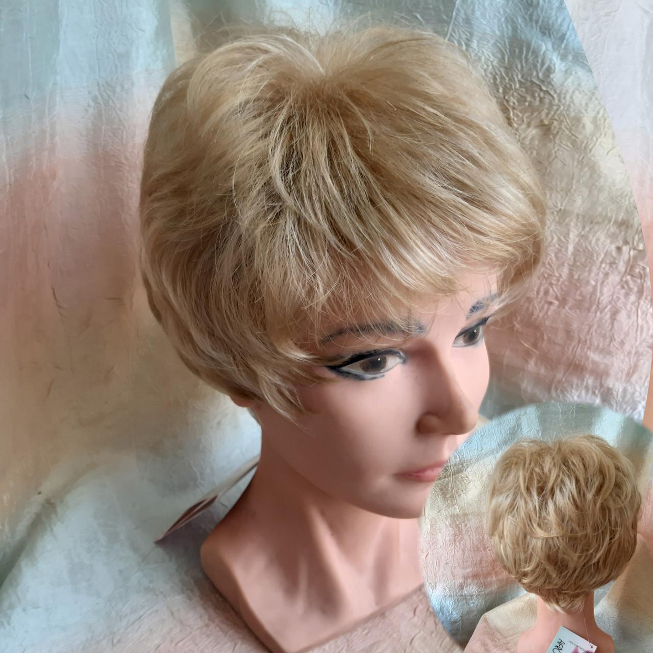 Парик короткий кудрявый соломенный блонд  ZINA-24Н613