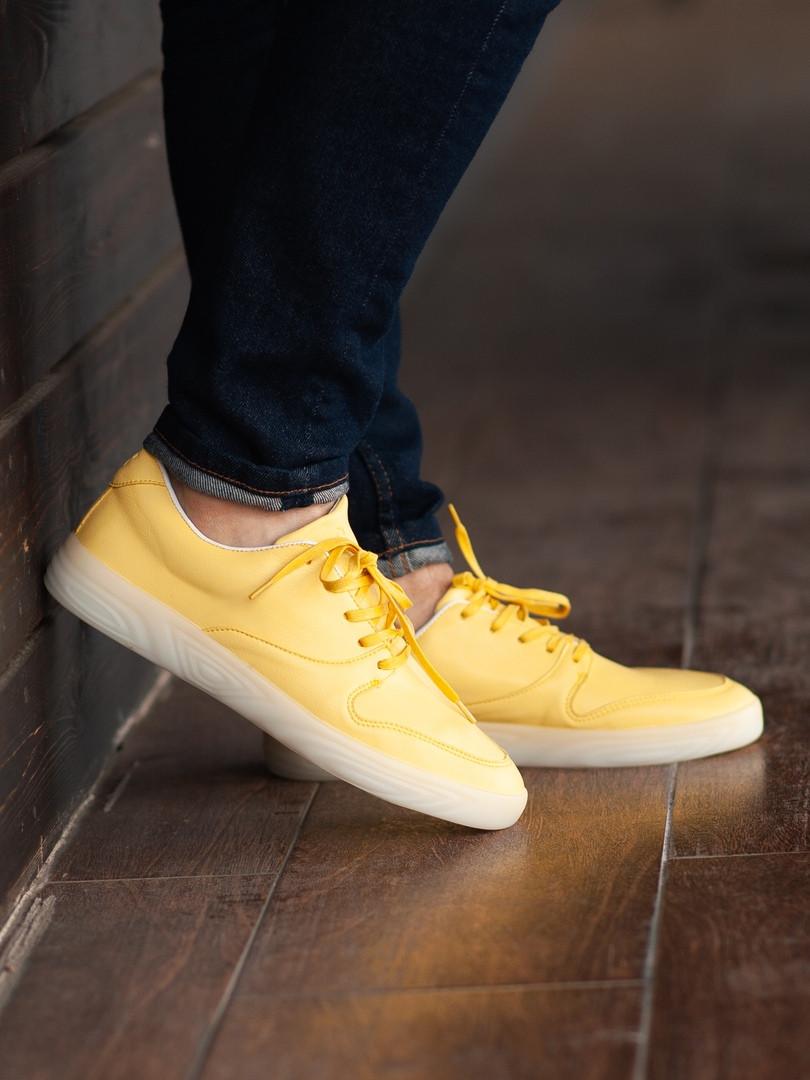 Мужские кроссовки South Fost yellow, кожаные желтые мужские кроссовки, кожаные мужские кеды