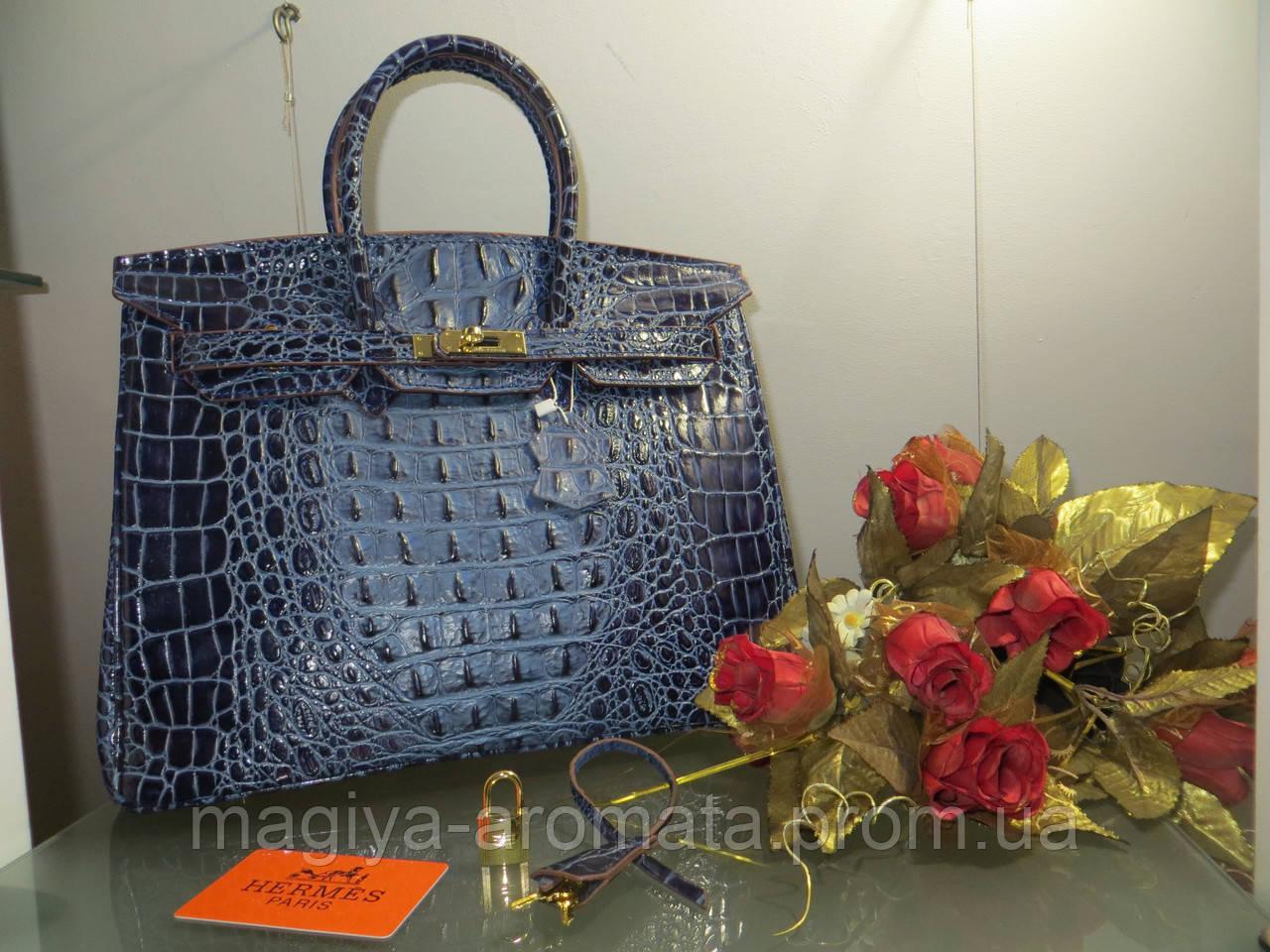 1b08abcea76d Женская сумка от Hermes 35 см синяя рептилия крокодил Original quality  Гермес Биркин Эрме - Магия