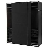 PAX  491.273.66 Гардероб, черно-коричневый, Ilseng blackberry, 200x66x236 см